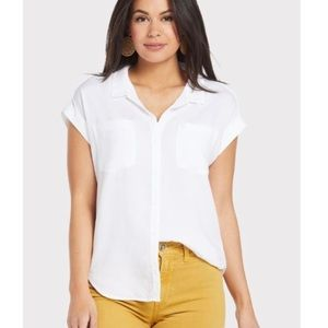 Cloth & Stone women's white cap sleeve button down collared shirt round hem SML